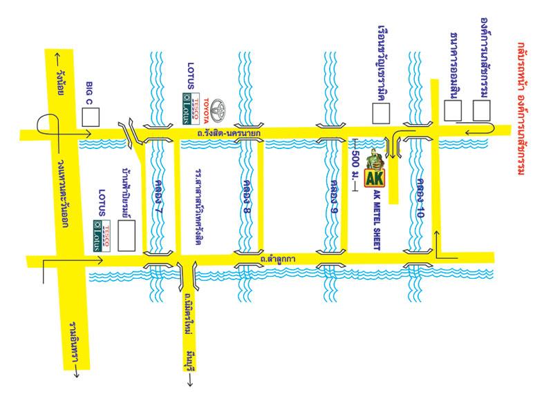 แผนที่ เอเค เมทัล ชีท-หลังคาเหล็ก เอเค
