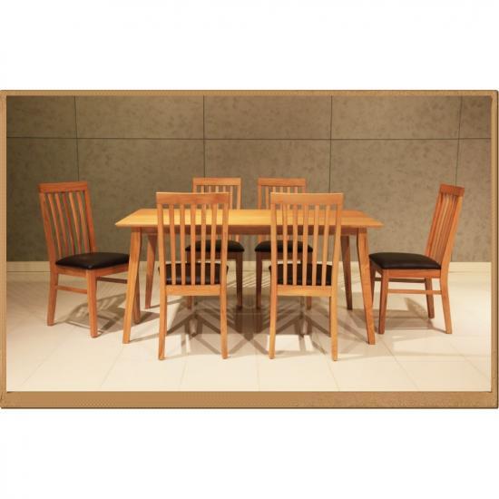 เจริญภัณฑ์เฟอร์นิเจอร์ หจก - ขายชุุดโต๊ะอาหารไม้โอ๊ค 6 ที่นั่ง จันทบุรี