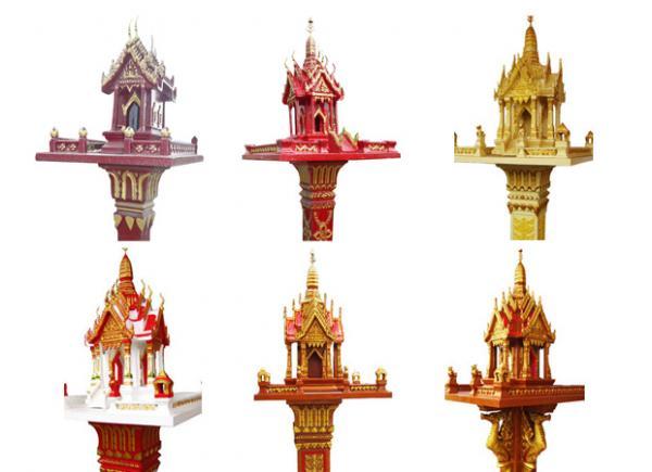 ศาลพระภูมิ, น้องมาลัย, มาลัยกลาง, สามชั้น เสาลายไทย, เสาหงส์