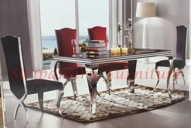 โต๊ะอาหารหินอ่อน สไตล์โมเดิร์น ขาสแตนเลน สวยหรูเงางาม