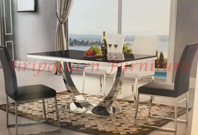 โต๊ะอาหาร สแตนเลส 150x85ซม. พร้อมเก้าอี้ 6 ตัว