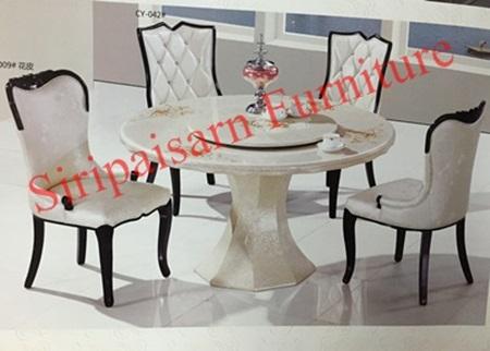โต๊ะอาหารกลมหินอ่อน 1.30 เมตร พร้อมเก้าอี้ 6 ตัว