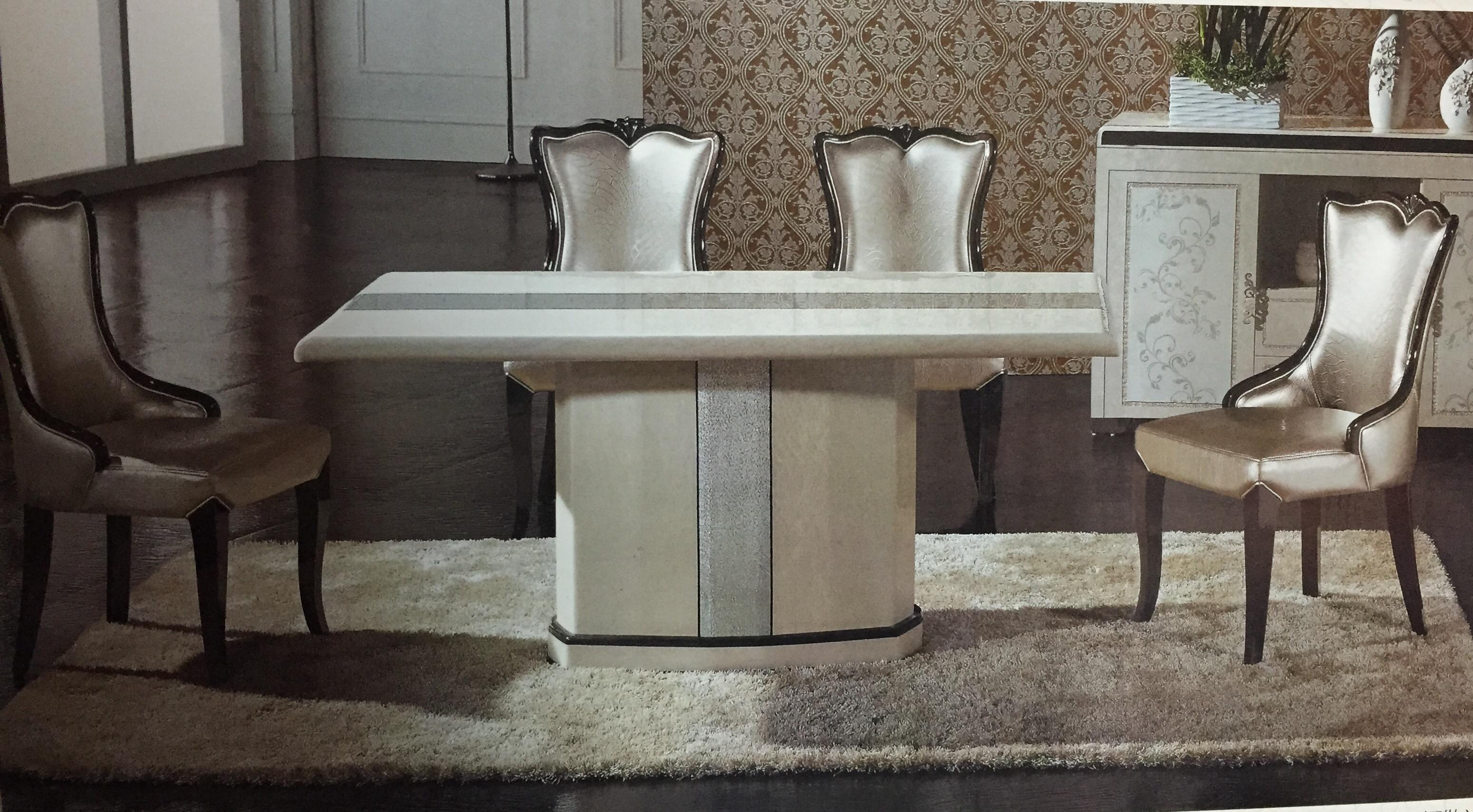 โต๊ะอาหารหินอ่อน 1.60 เมตร พร้อมเก้าอี้ 6 ตัว