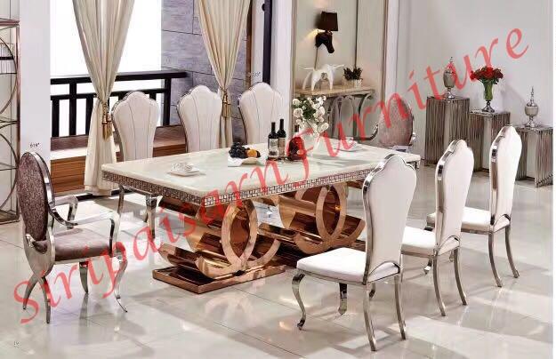 โต๊ะอาหารหินอ่อน 2.4x1.15 เมตร พร้อมเก้าอี้ 8 ตัว