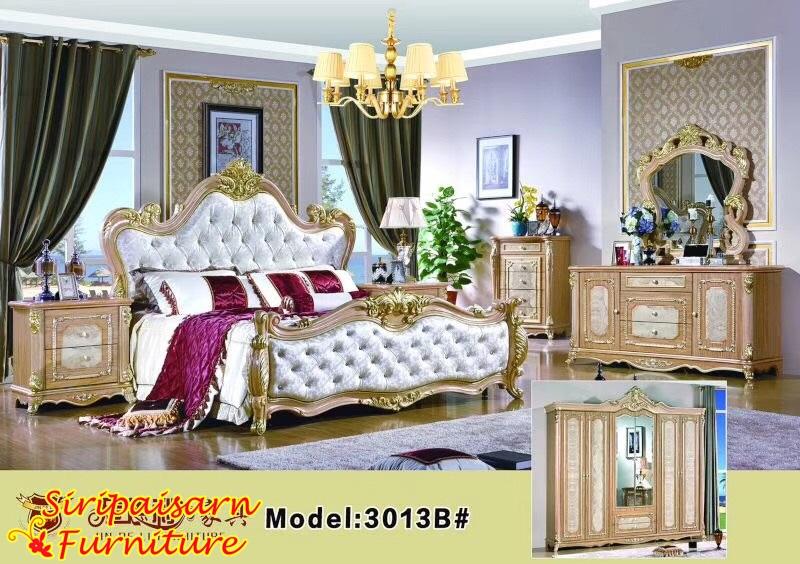 ชุดห้องนอนหลุยส์ สีน้ำตาลทอง หรูหรา สวยงาม อลังการมากๆค่ะ