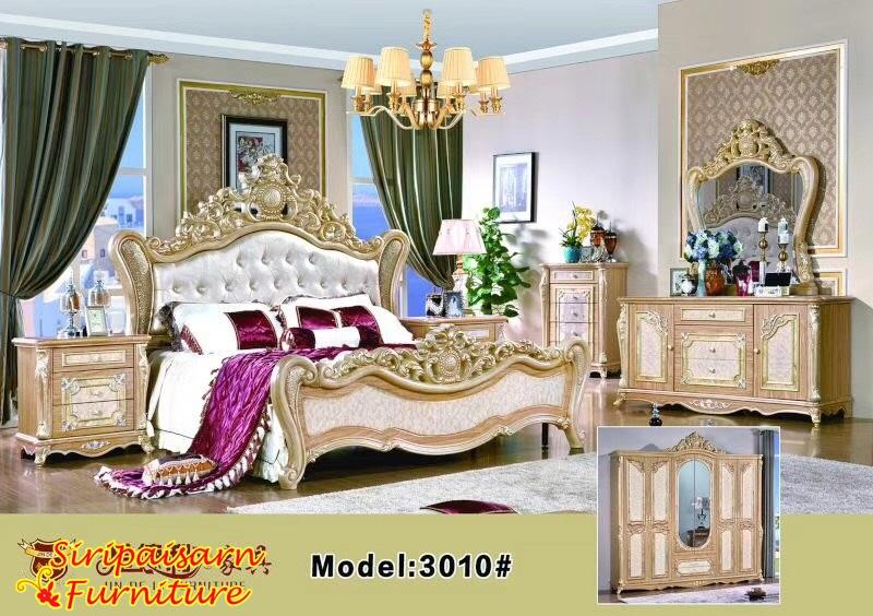 เตียงหลุยส์ ชุดสีน้ำตาลทองหรูหรา สวยงามอลังการมากๆค่ะ