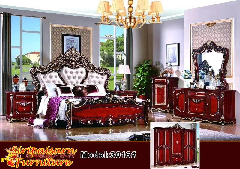 ชุดห้องนอนหลุยส์ สีไม้มะออกกะนี หัวเตียงหุ้มเบาะสวยงามมากๆ